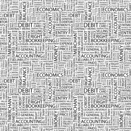 DEBIT. Seamless pattern with word cloud.   photo