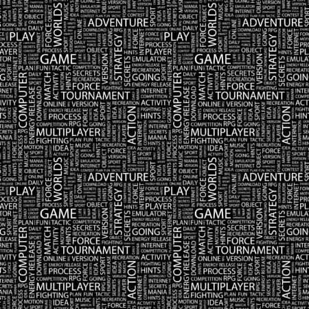 GAME. Seamless pattern with word cloud.   photo