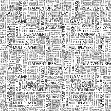 mix fighting: GAME. Seamless vector pattern with word cloud.