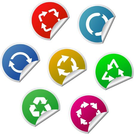 Recycle symbol. Sticker set. Stock Photo - 8237912