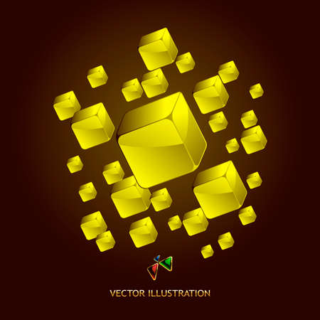 Abstract gold blocks background   photo