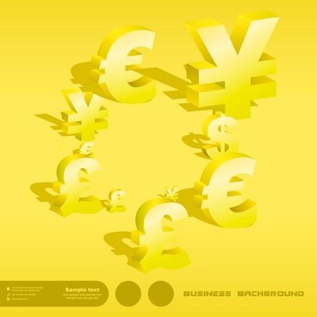 Abstract background with dollar, euro, yen and pound signs. photo