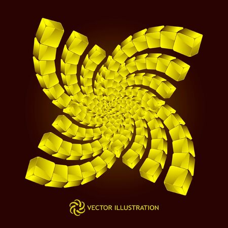 decorate element: Abstract element with golden boxes
