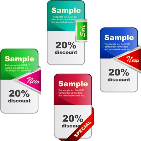 procent: Set of sale banner. Stock Photo