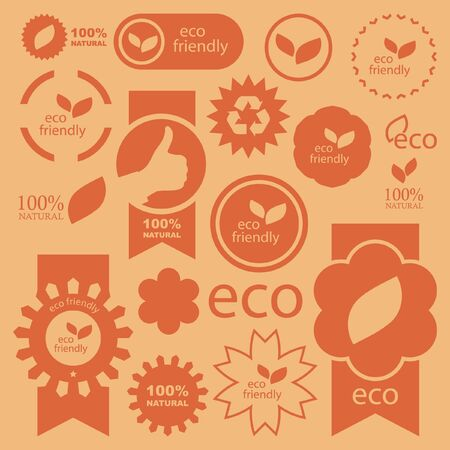 famous industries: Set of eco friendly, natural and organic signs. Stock Photo