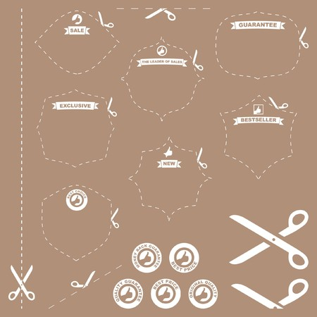 Scissors with cut lines templates to choose form photo