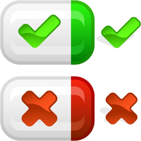 approbate: Approved and rejected icon set. Stock Photo