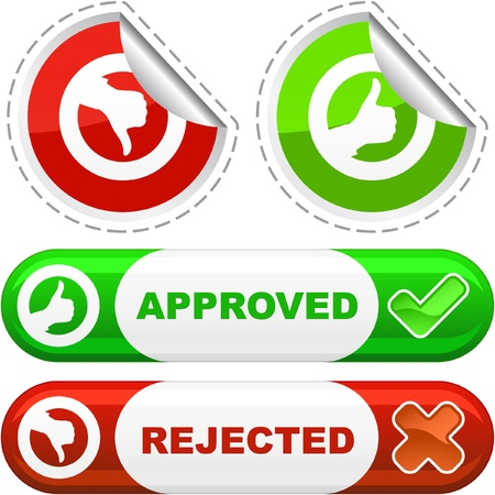 Approved and rejected button set. Stock Photo - 8238209