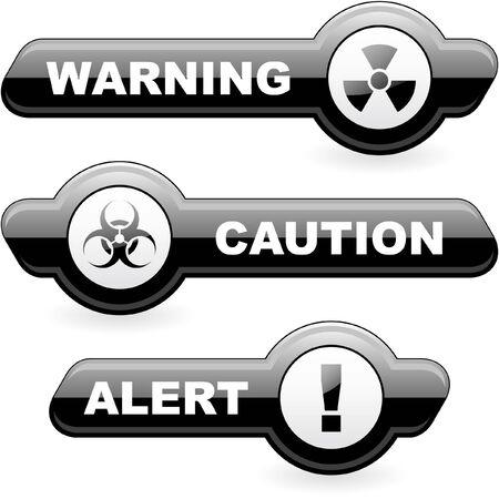 Warning banner. Stock Photo