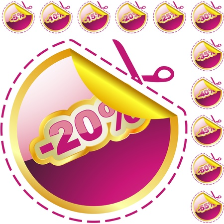 Discount label templates with different percentages Stock Photo - 8238220
