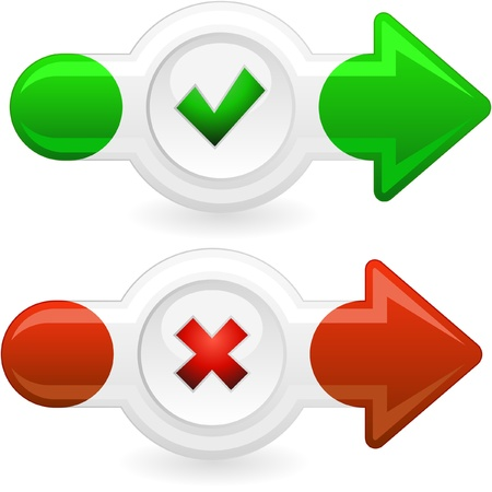 approbate: Approved and rejected buttons. Stock Photo
