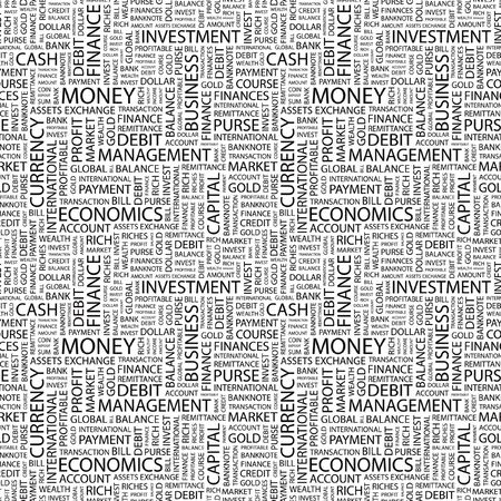 MONEY. Seamless vector background. Wordcloud illustration. Illustration with different association terms.   Vector