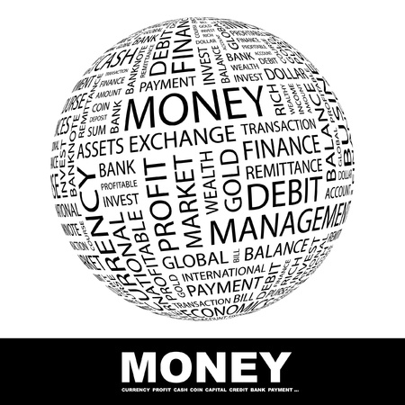 business finance: MONEY. Globe with different association terms. Wordcloud vector illustration.