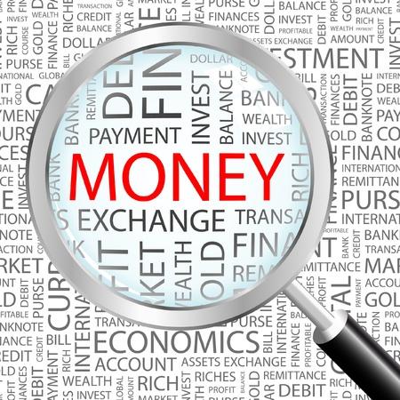 財源: お金。異なる協会規約と背景上の虫眼鏡。ベクトル イラスト。