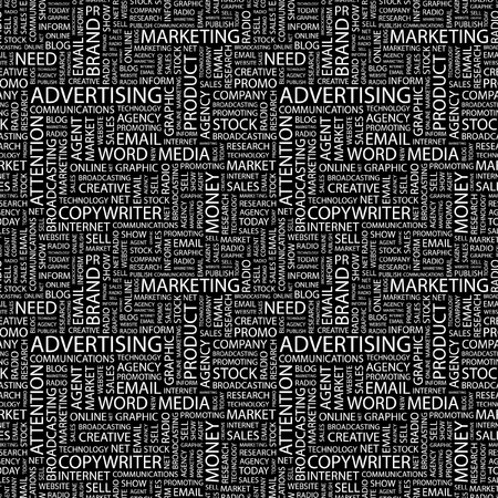 branded product: ADVERTISING. Seamless vector background. Wordcloud illustration. Illustration with different association terms.