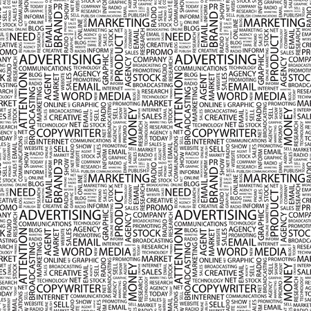 ADVERTISING. Seamless vector background. Wordcloud illustration. Illustration with different association terms.   Vector