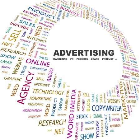 media advertising: ADVERTISING. Word collage on white background. Vector illustration. Illustration with different association terms.
