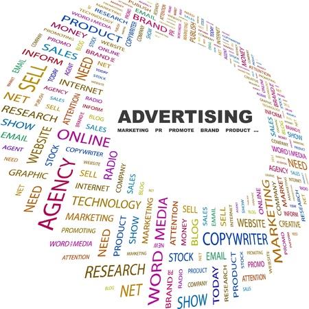 communicatie: RECLAME. Word collage op witte achtergrond. Vectorillustratie. Illustratie met verschillende vereniging voorwaarden.   Stock Illustratie