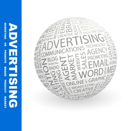 declare: ADVERTISING. Globe with different association terms. Wordcloud vector illustration.   Illustration