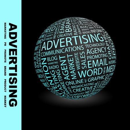 ADVERTISING. Globe with different association terms. Wordcloud vector illustration.   Illustration