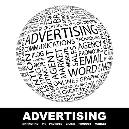 affichage publicitaire: LA PUBLICIT�. Globe avec termes diff�rents association. Wordcloud, illustration vectorielle.   Illustration