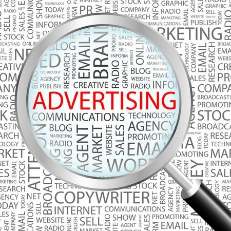 advertisement: WERBUNG. Lupe �ber Hintergrund mit verschiedenen Association Begriffen. Vektor-Illustration.