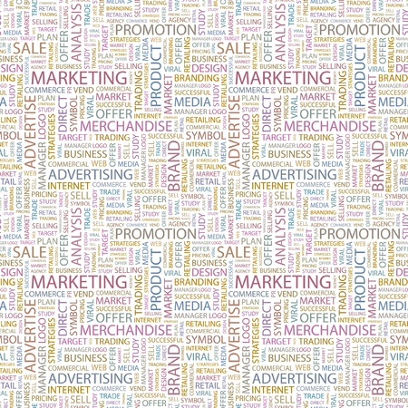 MARKETING. Seamless vector pattern with word cloud. Illustration with different association terms.   Vector