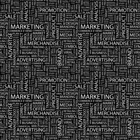 retailing: MARKETING. Seamless vector pattern with word cloud. Illustration with different association terms.