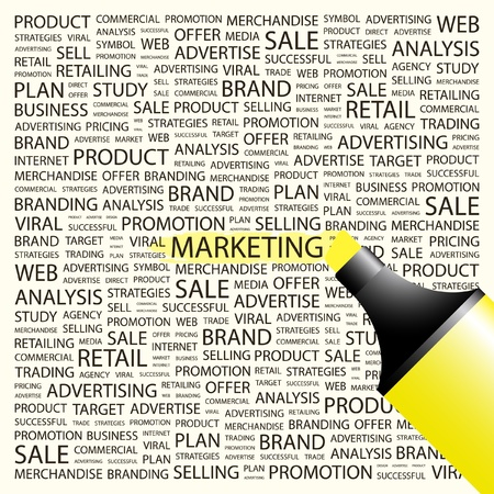 direct: MARKETING. Highlighter over background with different association terms. Vector illustration. Illustration