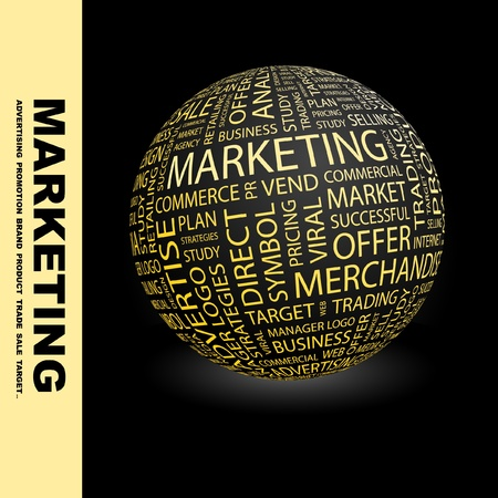 MARKETING. Globe with different association terms. Wordcloud vector illustration.