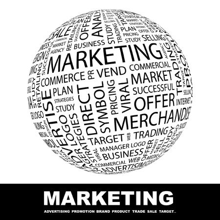 marketing mix: MARKETING. Globe with different association terms. Wordcloud vector illustration.   Illustration