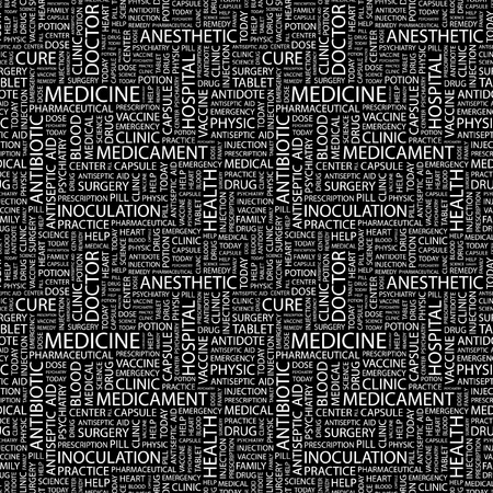 MEDICINE. Seamless vector pattern with word cloud. Illustration with different association terms.   Vector
