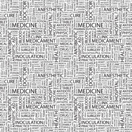 nursing associations: MEDICINE. Seamless vector background. Wordcloud illustration. Illustration with different association terms.