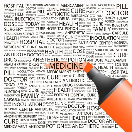 MEDICINE. Highlighter over background with different association terms. Vector illustration. Stock Vector - 8840117