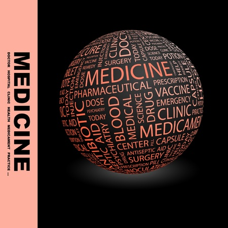 MEDICINE. Globe with different association terms. Wordcloud vector illustration.   Vector