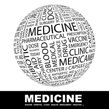 nursing treatment: MEDICINA. Globo con t�rminos de asociaci�n diferente. Ilustraci�n vectorial de Wordcloud.