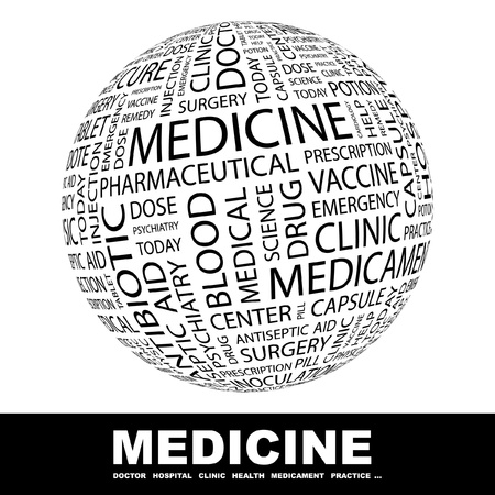 surgery doctor: MEDICINE. Globe with different association terms. Wordcloud vector illustration.