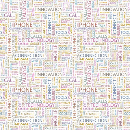PHONE. Seamless vector pattern with word cloud. Illustration with different association terms.   Vector