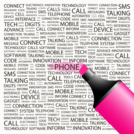 PHONE. Highlighter over background with different association terms. Vector illustration. Vector