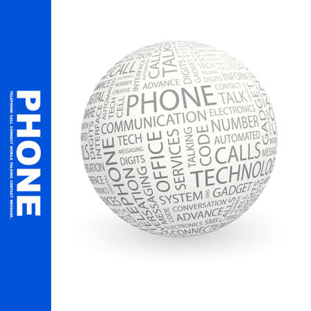 PHONE. Globe with different association terms. Wordcloud vector illustration.   Vector