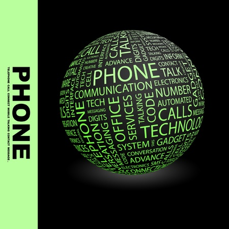 PHONE. Globe with different association terms. Wordcloud vector illustration.   Stock Vector - 9128390