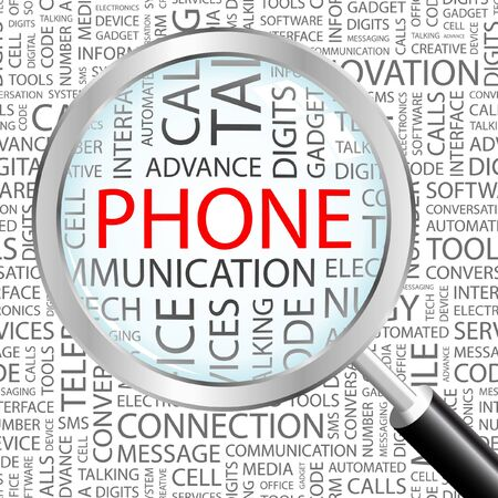 phone conversation: PHONE. Magnifying glass over background with different association terms. Vector illustration.