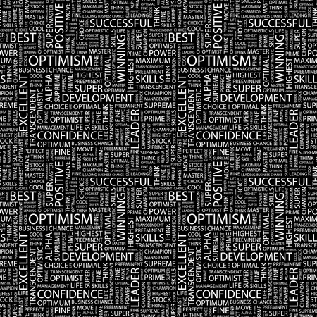 preeminent: OPTIMISM. Seamless vector pattern with word cloud. Illustration with different association terms.