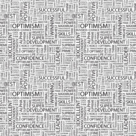 otimismo: OPTIMISM. Seamless vector pattern with word cloud. Illustration with different association terms.