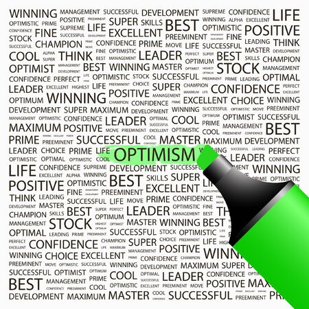 culminating: OPTIMISM. Highlighter over background with different association terms. Vector illustration. Illustration
