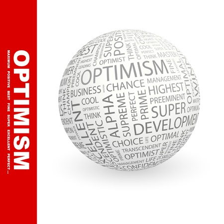 inimitable: OPTIMISM. Globe with different association terms. Wordcloud vector illustration.