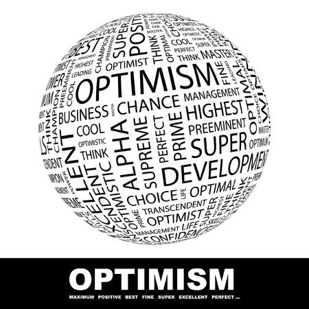 positief: OPTIMISME. Wereldbol met verschillende vereniging voorwaarden. Wordcloud vectorillustratie.   Stock Illustratie