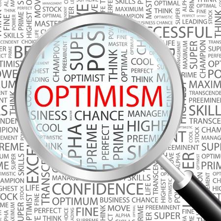positief: OPTIMISME. Vergrootglas op achtergrond met verschillende vereniging voorwaarden. Vectorillustratie.   Stock Illustratie