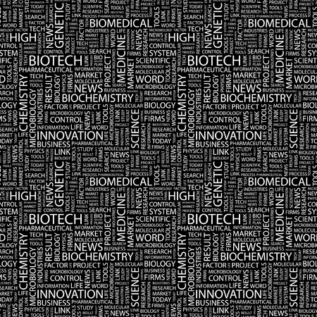 bioscience: BIOTECH. Seamless vector pattern with word cloud. Illustration with different association terms.   Illustration