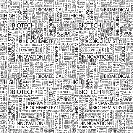 bioscience: BIOTECH. Seamless vector background. Wordcloud illustration. Illustration with different association terms.